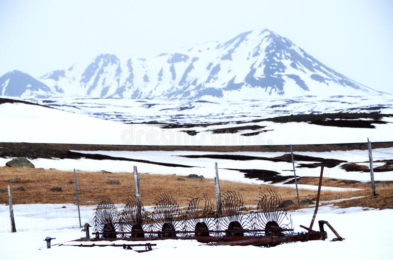 Αγροτική σκηνή στο χιόνι στοκ εικόνες με δικαίωμα ελεύθερης χρήσης