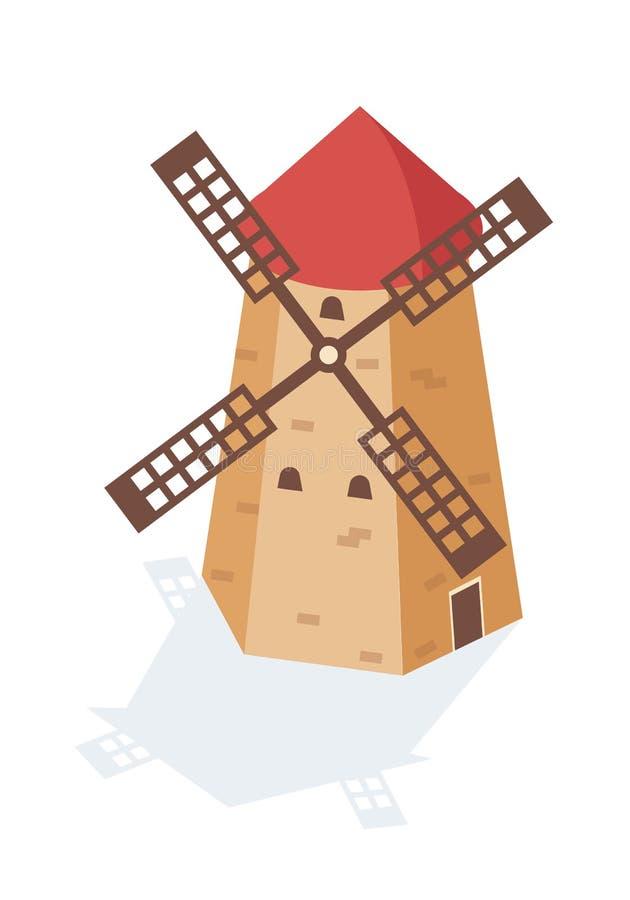 Αγροτικός ανεμόμυλος τοπίων με μορφή ενός πύργου με τα πανιά διανυσματική απεικόνιση