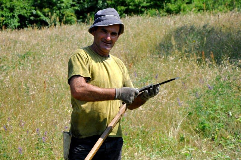 Αγροτικό άτομο που χρησιμοποιεί το δρεπάνι στοκ εικόνες με δικαίωμα ελεύθερης χρήσης