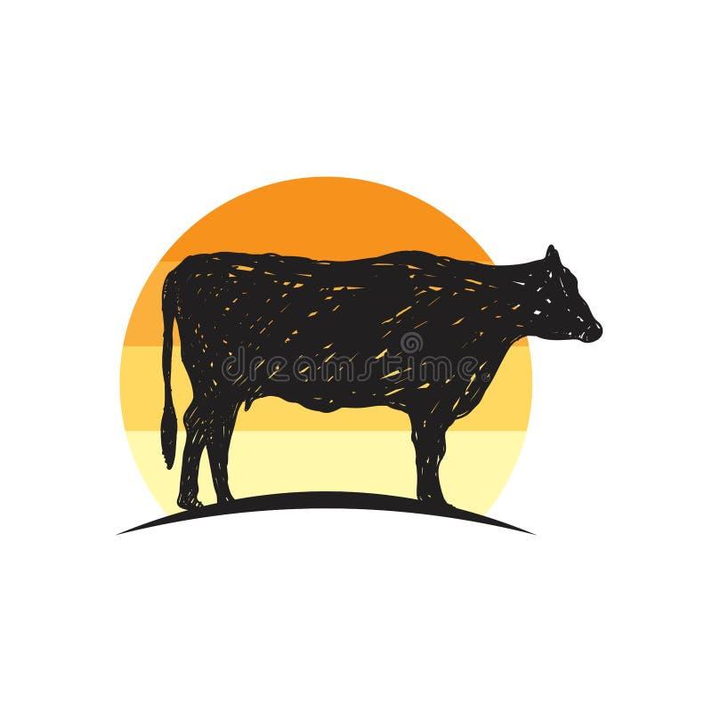 Αγροτικό διάνυσμα σκιαγραφιών αγελάδων, έμπνευση σχεδίου αγροτικών λογότυπων ελεύθερη απεικόνιση δικαιώματος