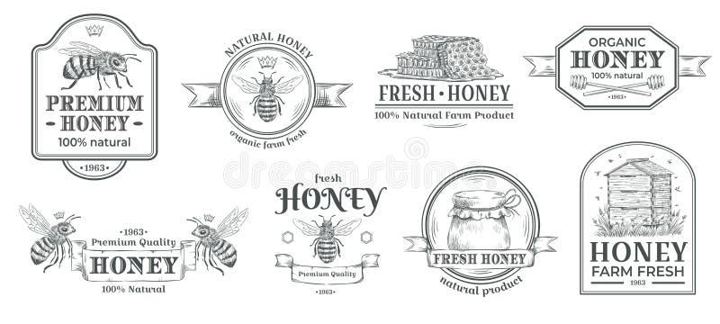 Αγροτικό διακριτικό μελιού Το λογότυπο μελισσοκομίας, τα αναδρομικά διακριτικά μελισσών και το εκλεκτής ποιότητας συρμένο χέρι υδ ελεύθερη απεικόνιση δικαιώματος