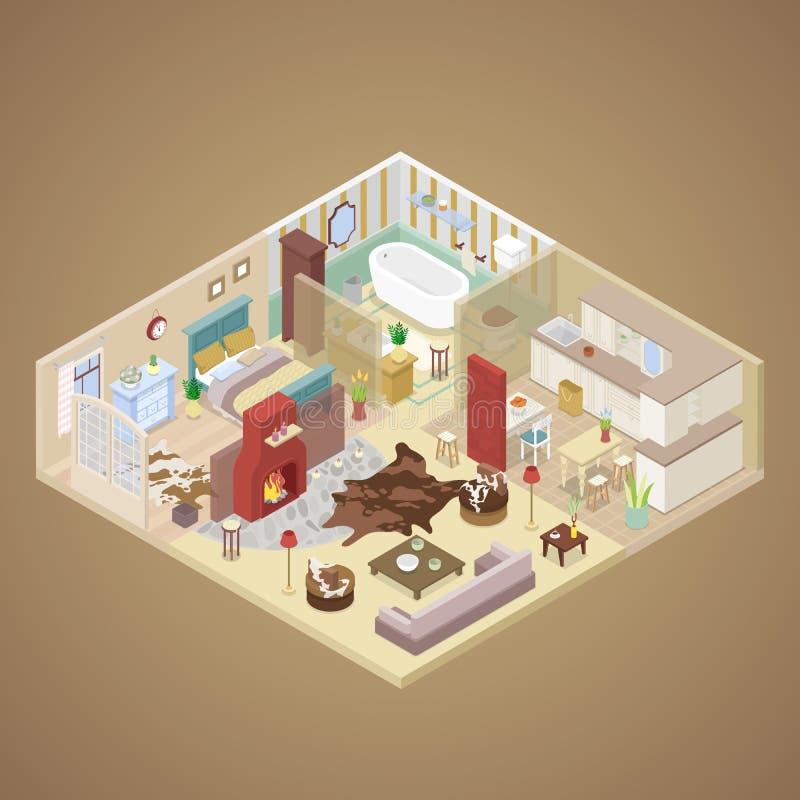 Αγροτικό εσωτερικό σχέδιο σπιτιών με το καθιστικό, την κρεβατοκάμαρα και την κουζίνα Isometric επίπεδη απεικόνιση διανυσματική απεικόνιση