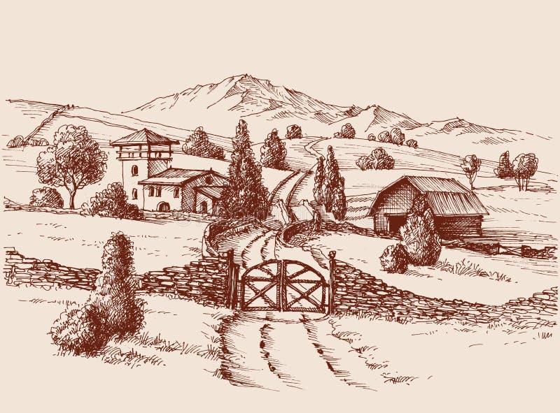 Αγροτικό κτήριο και πύλη εισόδων ελεύθερη απεικόνιση δικαιώματος