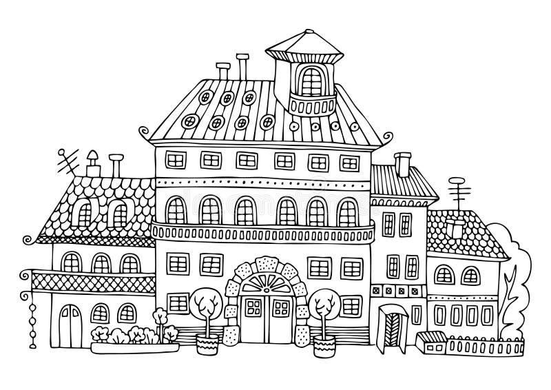 Αγροτικό παλάτι στο ύφος κινούμενων σχεδίων διανυσματική απεικόνιση