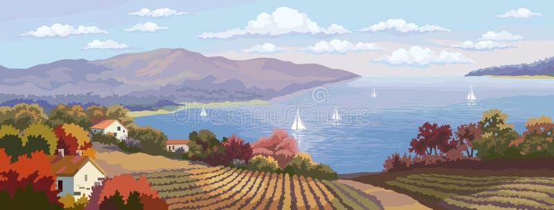 Αγροτικό πανόραμα τοπίων και θάλασσας. ελεύθερη απεικόνιση δικαιώματος