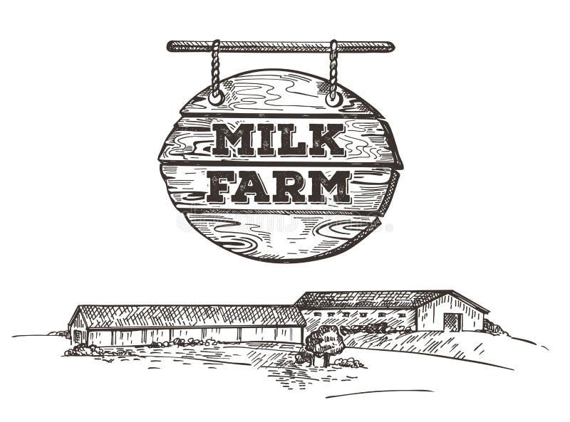 Αγροτικό σκίτσο ύφους τοπίων Διανυσματική εικόνα ενός γαλακτοκομικού αγροκτήματος Αναδρομική απεικόνιση διανυσματική απεικόνιση