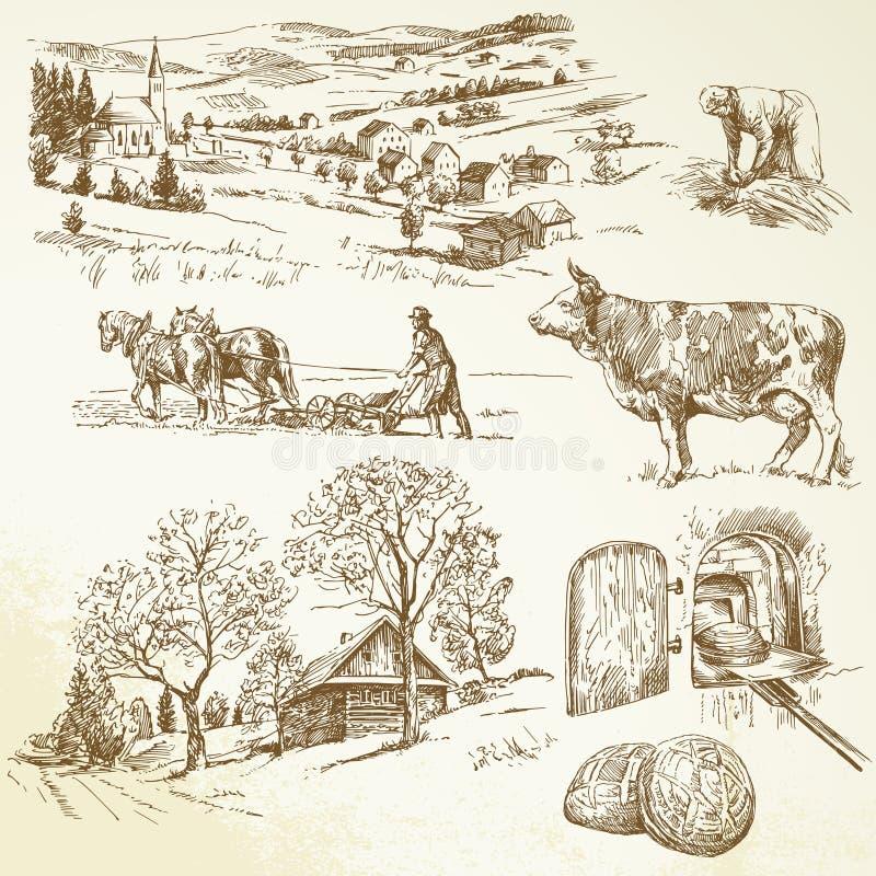 Αγροτικό τοπίο, γεωργία διανυσματική απεικόνιση