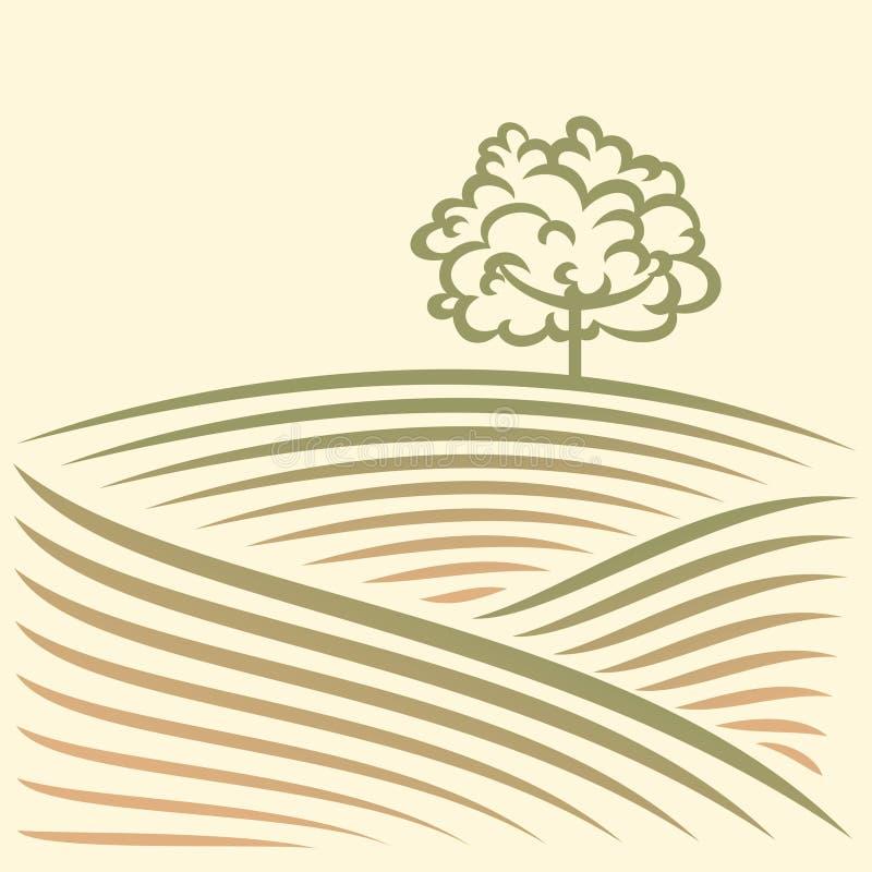 Αγροτικό τοπίο με τα πεδία και το δέντρο απεικόνιση αποθεμάτων