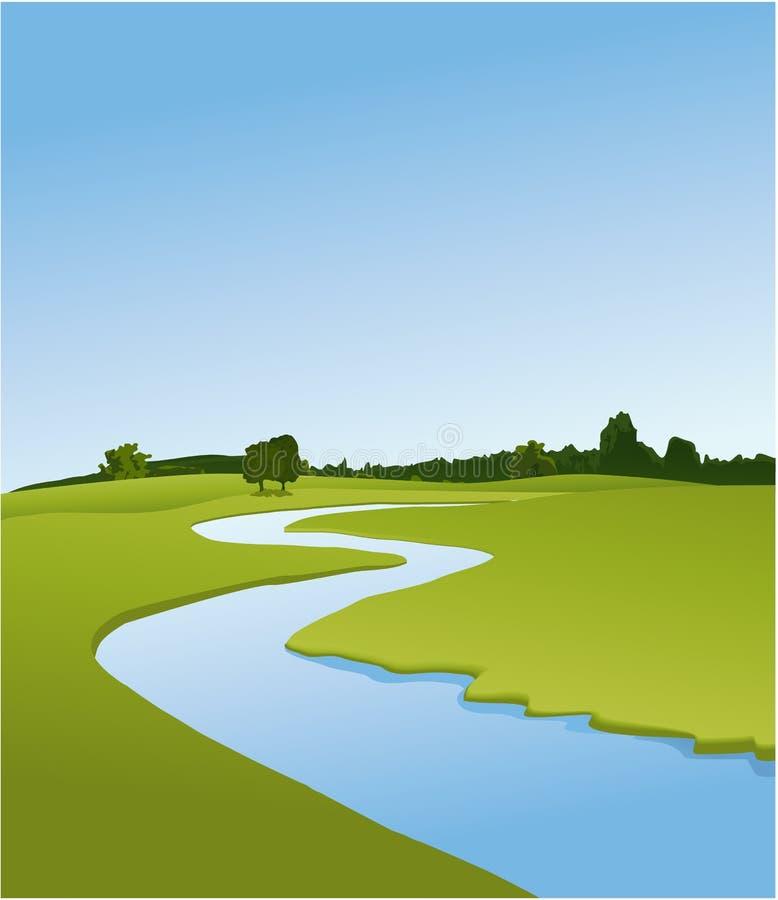 Αγροτικό τοπίο με τον ποταμό απεικόνιση αποθεμάτων