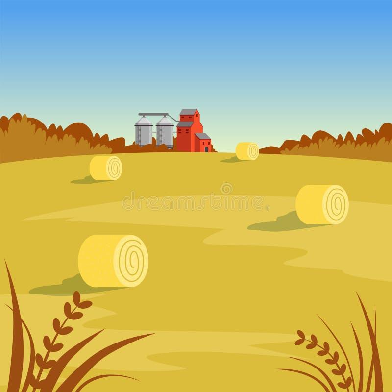 Αγροτικό αγροτικό τοπίο με το σανό, όμορφη διανυσματική απεικόνιση υποβάθρου φθινοπώρου ελεύθερη απεικόνιση δικαιώματος