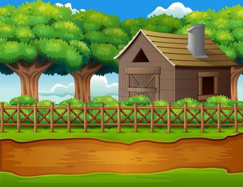 Αγροτικό τοπίο με το υπόστεγο και τις πράσινες εγκαταστάσεις απεικόνιση αποθεμάτων