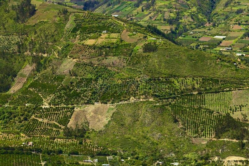 Αγροτικό τοπίο στην επαρχία Tungurahua, Ισημερινός στοκ εικόνα