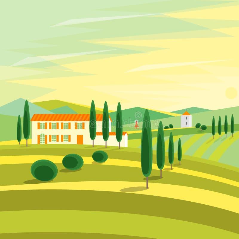 Αγροτικό τοπίο της Τοσκάνης με τα σπίτια διάνυσμα απεικόνιση αποθεμάτων