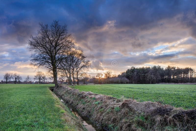 Αγροτικό τοπίο, τομέας με τα δέντρα κοντά σε μια τάφρο και ζωηρόχρωμο ηλιοβασίλεμα με τα δραματικά σύννεφα, Weelde, Βέλγιο στοκ εικόνες με δικαίωμα ελεύθερης χρήσης