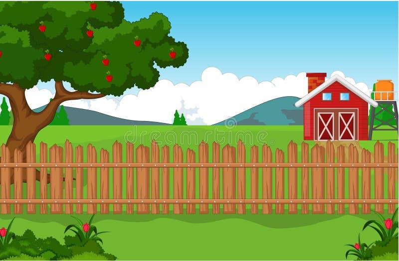 Αγροτικό υπόβαθρο με μεγάλο Aplle για σας σχέδιο απεικόνιση αποθεμάτων
