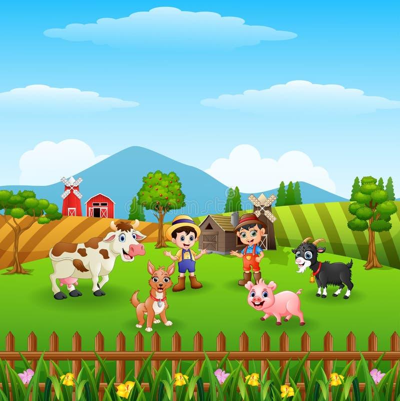 Αγροτικό υπόβαθρο στο λόφο με τα άλλα ζώα ελεύθερη απεικόνιση δικαιώματος