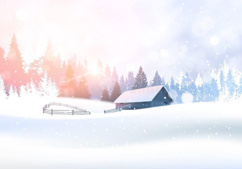 Αγροτικό χειμερινό τοπίο με το σπίτι στο χιονώδες δασικό υπόβαθρο ξύλων δέντρων πεύκων διανυσματική απεικόνιση