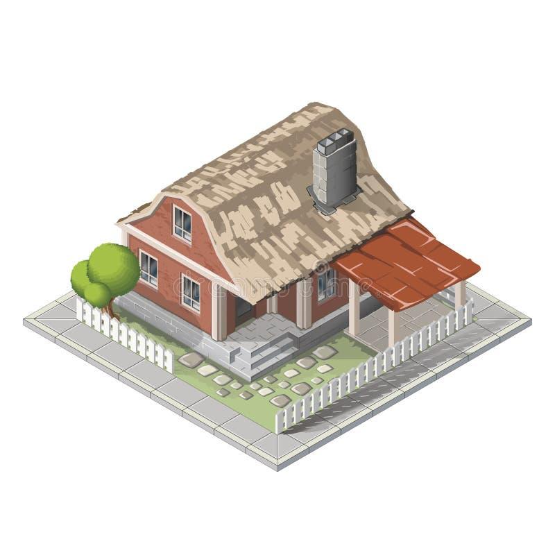 Αγροτικό isometric κτήριο, αγροικία ελεύθερη απεικόνιση δικαιώματος