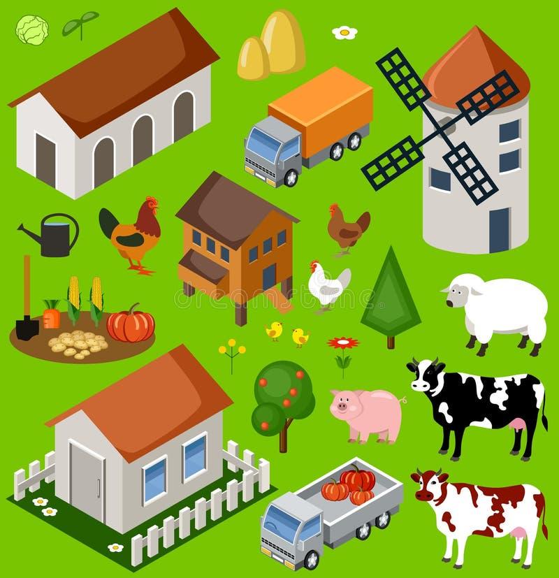 Αγροτικό isometric σύνολο διανυσματική απεικόνιση