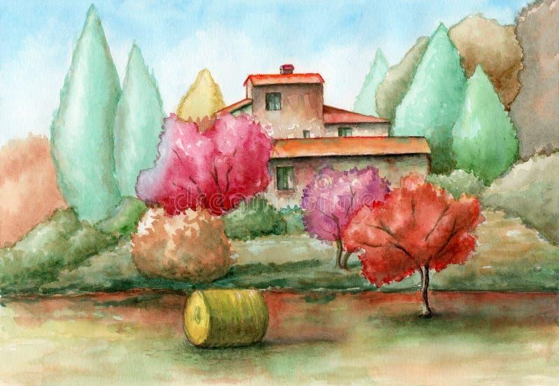 Αγροτικό watercolor τοπίων στοκ εικόνες