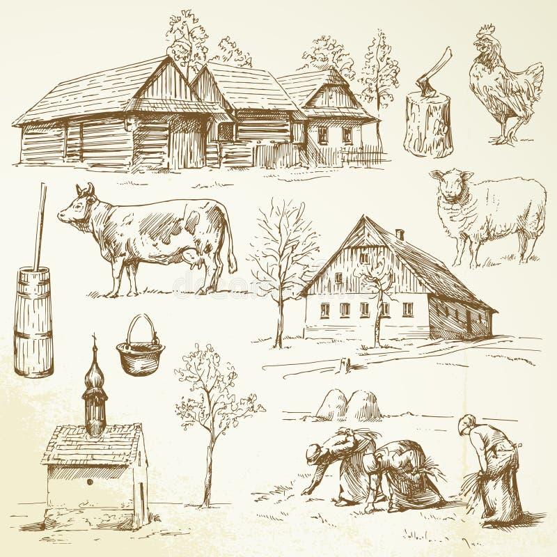 Αγρόκτημα, αγροτικά σπίτια απεικόνιση αποθεμάτων