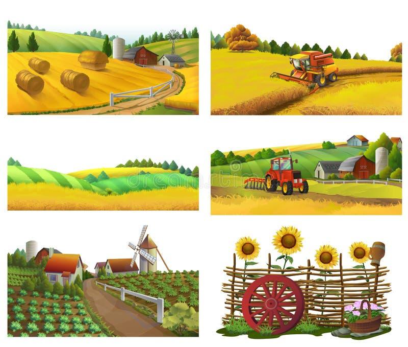 Αγρόκτημα, αγροτικό τοπίο, διανυσματικό σύνολο ελεύθερη απεικόνιση δικαιώματος
