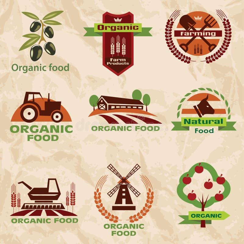 Αγρόκτημα, εικονίδια γεωργίας, συλλογή ετικετών διανυσματική απεικόνιση