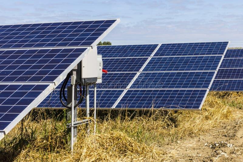 Αγρόκτημα ηλιακού πλαισίου Οι τομείς καλαμποκιού μετατρέπονται στις πράσινες ενεργειακές περιοχές χρησιμοποιώντας τα φωτοβολταϊκά στοκ εικόνα