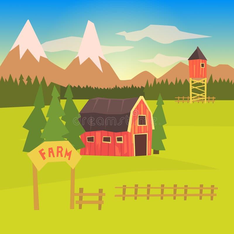 Αγρόκτημα και περιβάλλουσα ζωηρόχρωμη αυτοκόλλητη ετικέττα τοπίων απεικόνιση αποθεμάτων
