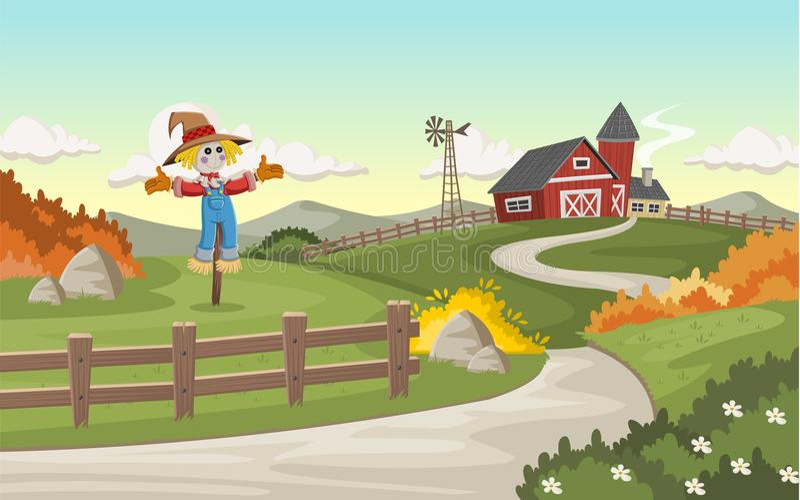 Αγρόκτημα κινούμενων σχεδίων με τη μεγάλη σιταποθήκη ελεύθερη απεικόνιση δικαιώματος