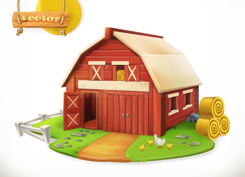 Αγρόκτημα Κόκκινο υπόστεγο κήπων, διανυσματικό εικονίδιο διανυσματική απεικόνιση