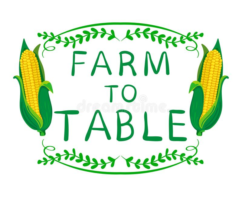 ` Αγρόκτημα στις επιτραπέζιες ` λέξεις με το καλαμπόκι Στοιχεία τυπογραφίας ΔΙΑΝΥΣΜΑΤΙΚΑ σύντομα χρονογραφήματα στο λευκό ελεύθερη απεικόνιση δικαιώματος