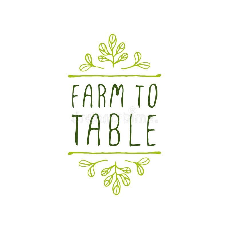 Αγρόκτημα στον πίνακα - ετικέτα προϊόντων στο άσπρο υπόβαθρο διανυσματική απεικόνιση