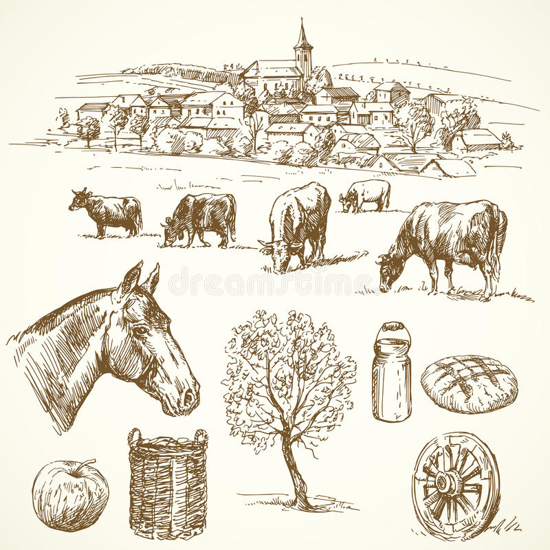 Αγρόκτημα - συρμένη χέρι συλλογή διανυσματική απεικόνιση
