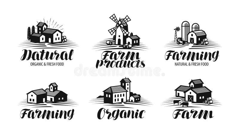 Αγρόκτημα, σύνολο ετικετών καλλιέργειας Γεωργία, βιομηχανία μεταποίησης αγροτικών προϊόντων, εικονίδιο οικοδόμησης ή λογότυπο Γρά απεικόνιση αποθεμάτων