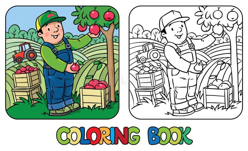 Αγρότης ή κηπουρός Funy με τα μήλα γραφική απεικόνιση χρωματισμού βιβλίων ζωηρόχρωμη διανυσματική απεικόνιση