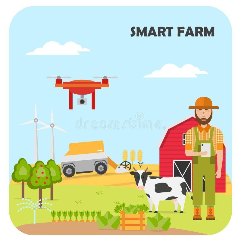 Αγρότης γυναικών με την ταμπλέτα σε ένα σύγχρονο γαλακτοκομικό αγρόκτημα Έξυπνη κινητή εφαρμογή καλλιέργειας διανυσματική απεικόνιση