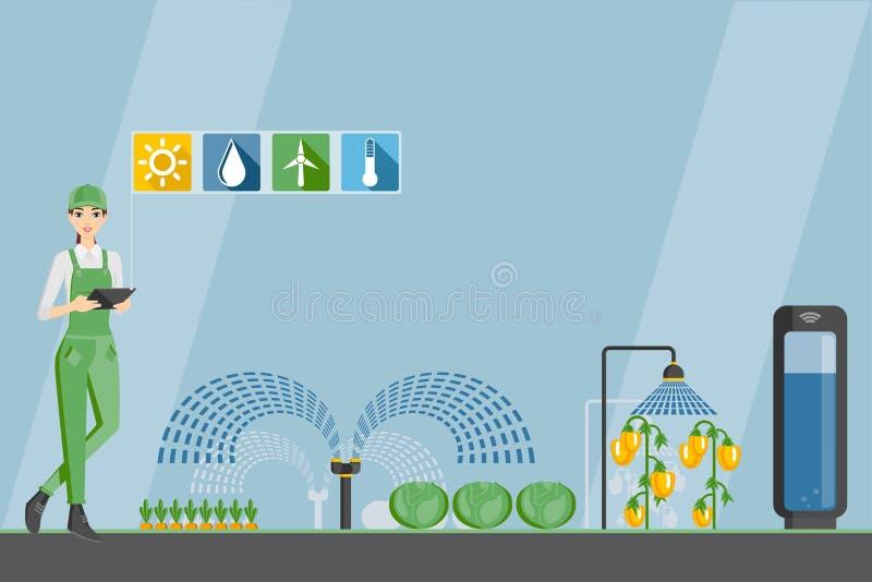 Αγρότης γυναικών με την ψηφιακή ταμπλέτα ελεύθερη απεικόνιση δικαιώματος