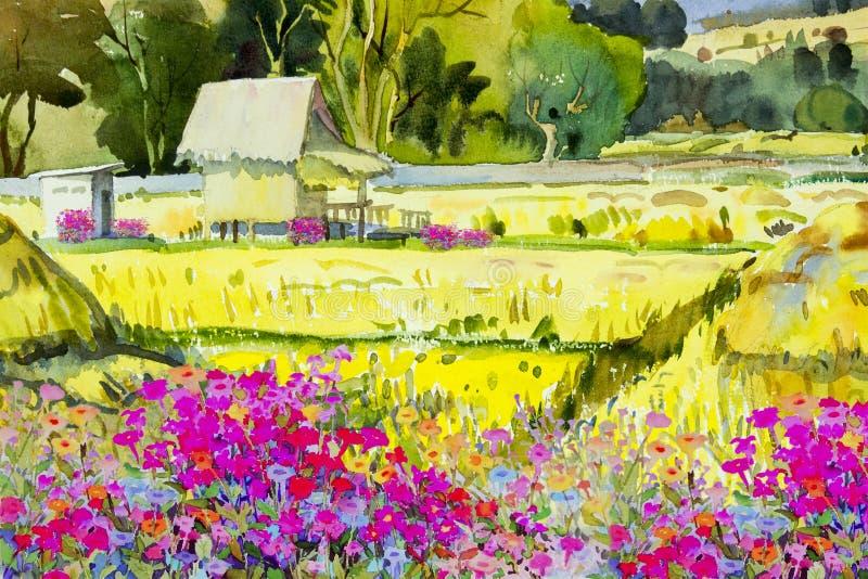 Αγρότης εξοχικών σπιτιών και λουλούδι, τομέας ρυζιού το πρωί διανυσματική απεικόνιση