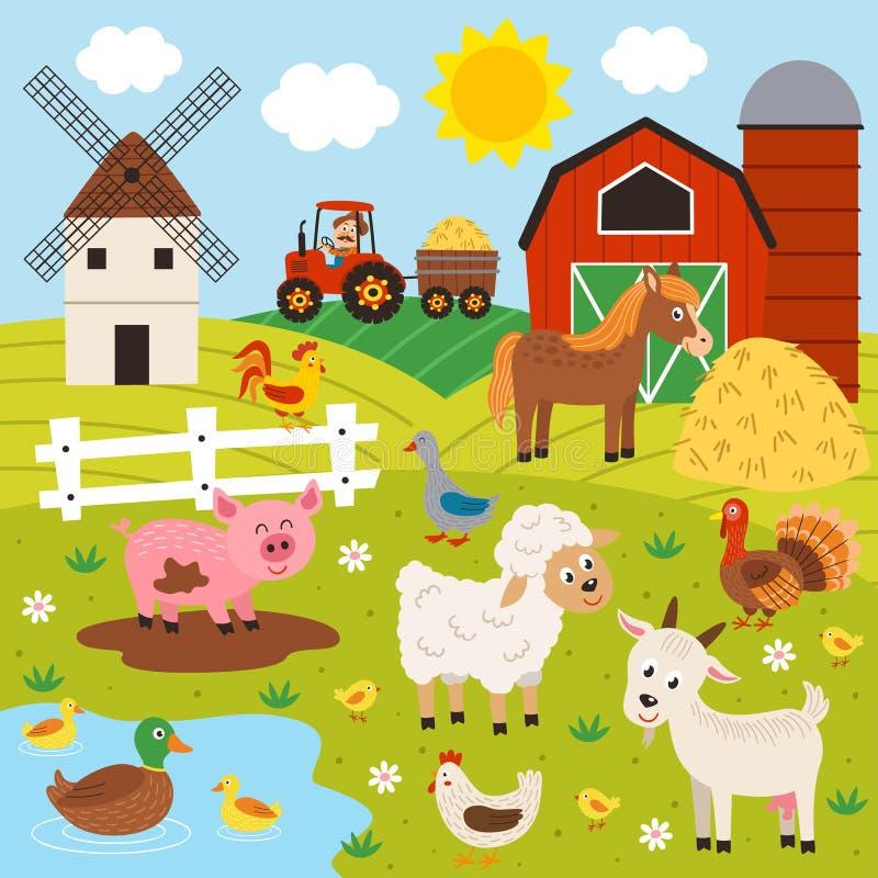 αγρότης και ευτυχές ζωικό αγρόκτημα ελεύθερη απεικόνιση δικαιώματος