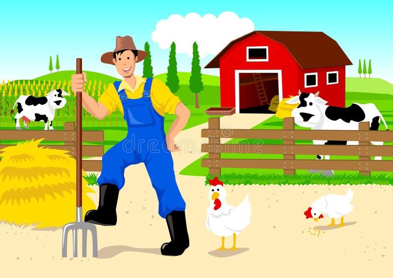 αγρότης κινούμενων σχεδί&omega διανυσματική απεικόνιση