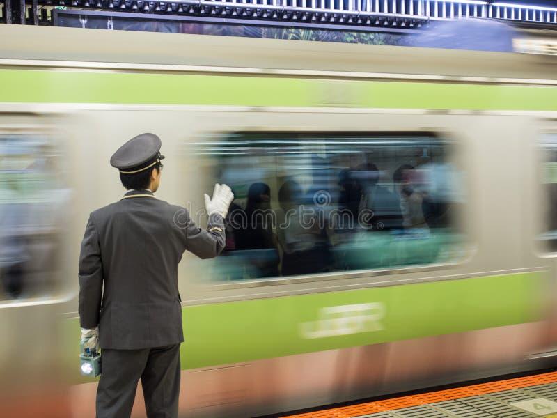 Αγωγός ραγών της Ιαπωνίας στην πλατφόρμα στοκ εικόνα με δικαίωμα ελεύθερης χρήσης