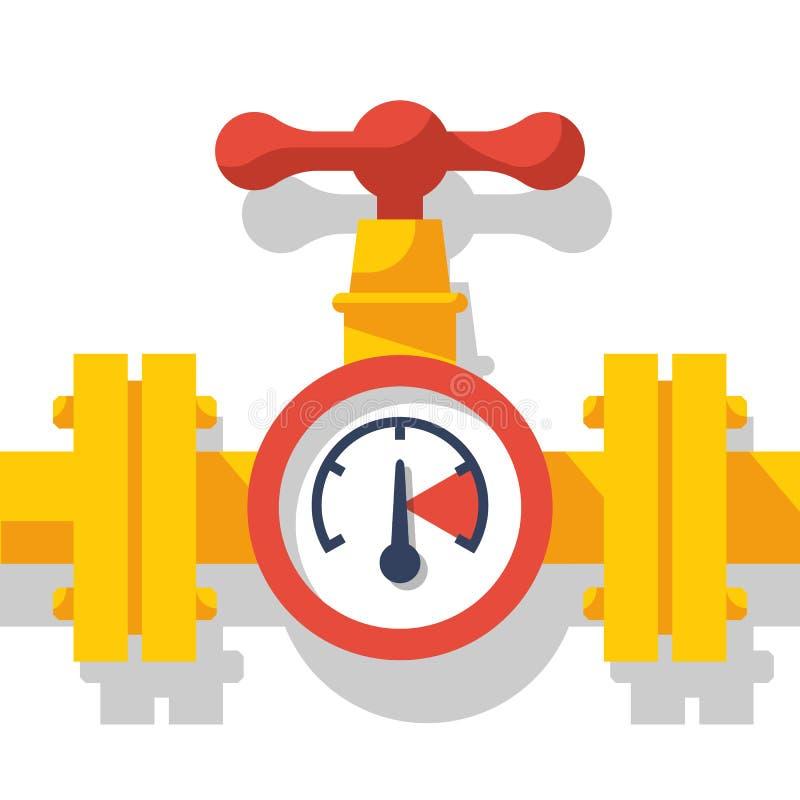 Αγωγός υγραερίου με μια βαλβίδα και ένα μανόμετρο διανυσματική απεικόνιση