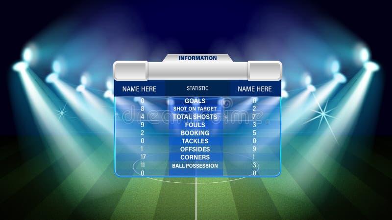 Αγωνιστικός χώρος ποδοσφαίρου ή ποδοσφαίρου με των infographic στοιχείων επίσης corel σύρετε το διάνυσμα απεικόνισης ελεύθερη απεικόνιση δικαιώματος