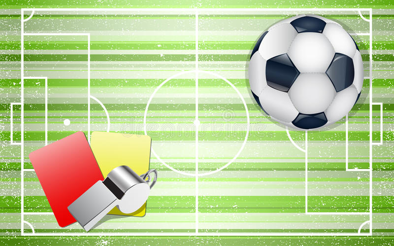 Αγωνιστικός χώρος ποδοσφαίρου με τα ποδόσφαιρα καθορισμένα ελεύθερη απεικόνιση δικαιώματος