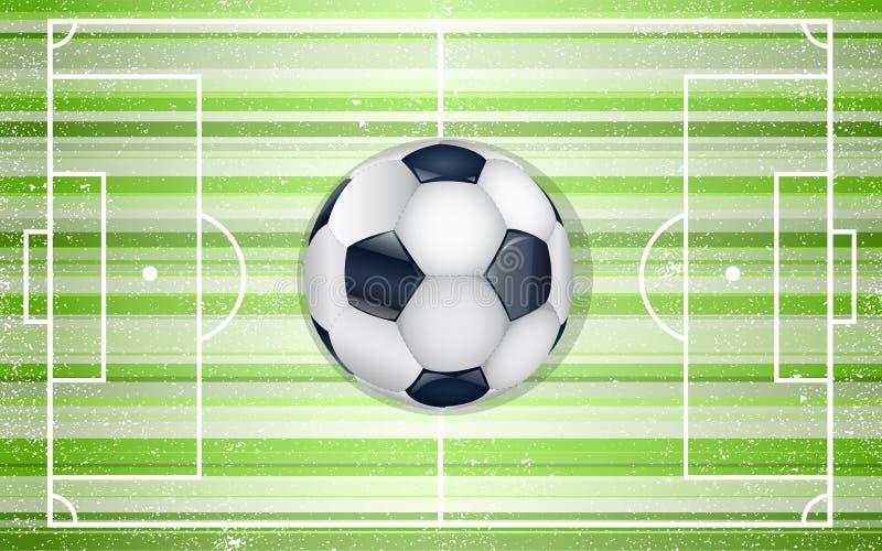 Αγωνιστικός χώρος ποδοσφαίρου με τη σφαίρα. διανυσματική απεικόνιση