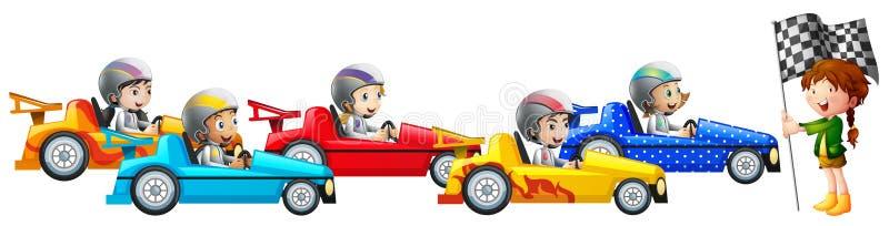 Αγωνιστικό αυτοκίνητο πέντε παιδιών από κοινού διανυσματική απεικόνιση