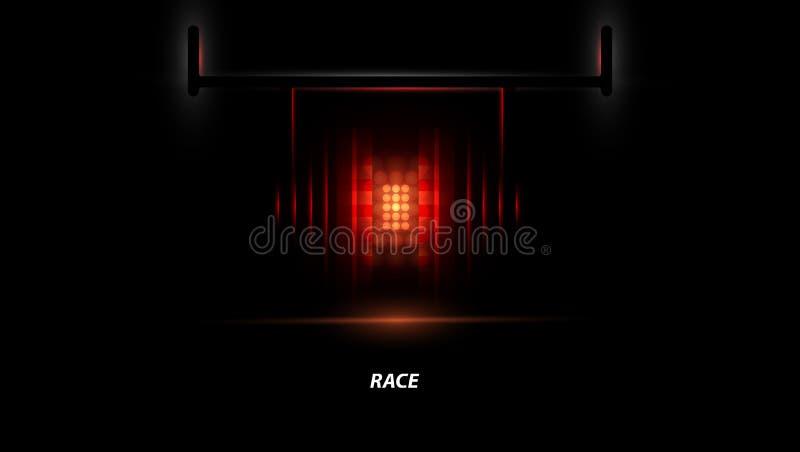 Αγωνιστικό αυτοκίνητο backlight F1 επίκεντρο αφηρημένο σκοτάδι ανασκόπ&eta απεικόνιση αποθεμάτων