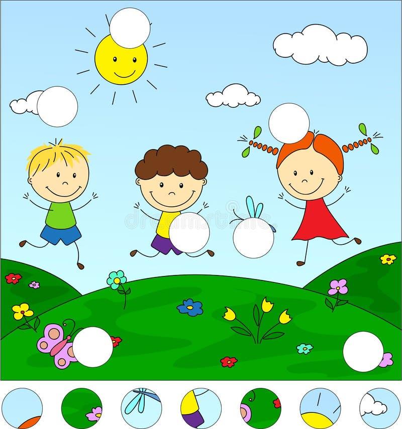 Αγόρια και ένα κορίτσι που παίζει στο λιβάδι Ολοκληρώστε το γρίφο και το φ διανυσματική απεικόνιση