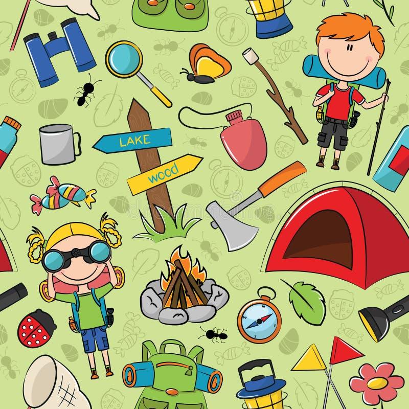 Αγόρια και ανιχνεύσεις Gils με το διανυσματικό άνευ ραφής σχέδιο εργαλείων του ταξιδιού διανυσματική απεικόνιση
